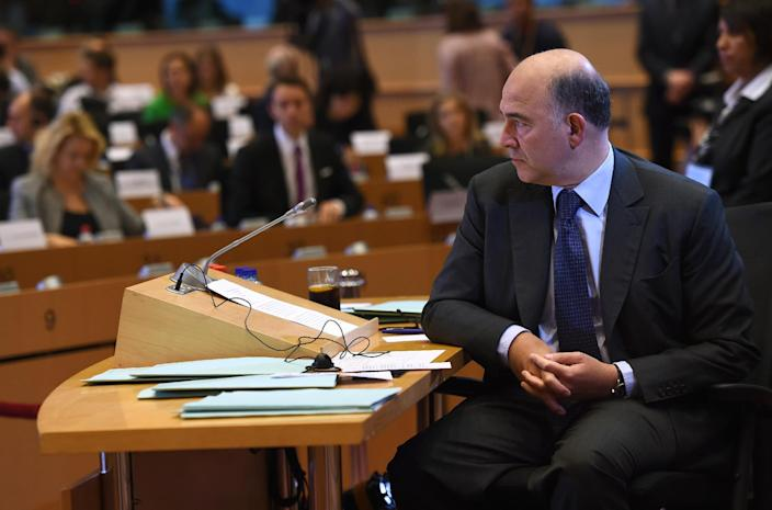 European Commissioner nomineee for financial affairs Pierre Moscovici of France faces a confirmation hearing at the European Parliament in Brussels on October 2, 2014 (AFP Photo/Emmanuel Dunand)