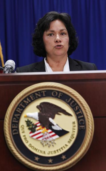 United States Attorney Sarah R. Saldaña of the Northern District of Texas speaks about a healthcare fraud scheme during a news conference Tuesday, Feb. 28, 2012, in Dallas. Officials announced federal charges in what they called the largest case of medical fraud in U.S. history involving $375 million. (AP Photo/LM Otero)