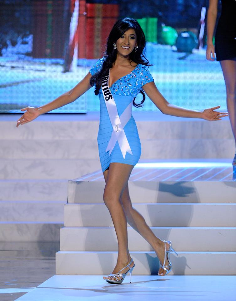 LAS VEGAS, NV - DECEMBER 19:  Miss Mauritius 2012, Ameeksha Devi Dilchand, is introduced during the 2012 Miss Universe Pageant at PH Live at Planet Hollywood Resort & Casino on December 19, 2012 in Las Vegas, Nevada.  (Photo by David Becker/Getty Images)