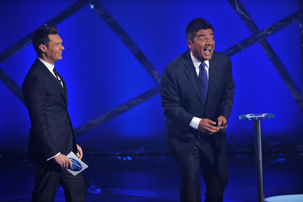 """Ryan Seacrest and George Lopez on <a href=""""/american-idol/show/34934"""">""""Idol Gives Back.""""</a>"""