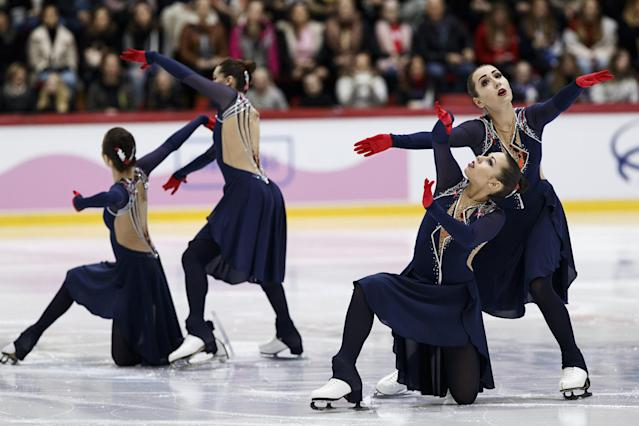 ISU World Synchronized Skating Championships 2019 - Free Skating - Helsinki, Finland - April 13, 2019. Team Tatarstan from Russia performs. Lehtikuva/Roni Rekomaa via REUTERS ATTENTION EDITORS - THIS IMAGE WAS PROVIDED BY A THIRD PARTY. NO THIRD PARTY SALES. NOT FOR USE BY REUTERS THIRD PARTY DISTRIBUTORS. FINLAND OUT. NO COMMERCIAL OR EDITORIAL SALES IN FINLAND.