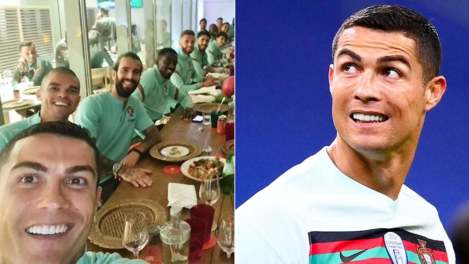 Pictured here, Cristiano Ronaldo enjoying a meal with Portugal teammates.
