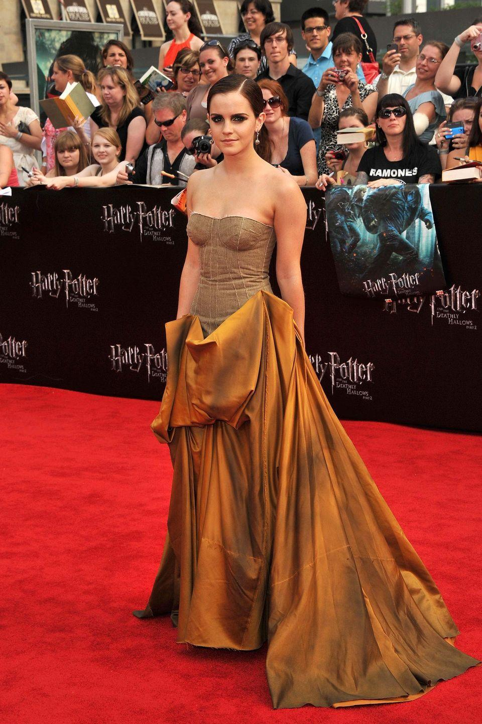 <p>Who knows? Maybe it was this golden gown that Emma Watson wore to the 2011 premiere of <em>Harry Potter and the Deathly Hallows: Part 2</em> that convinced Disney to cast her as Belle in the live action version of <em>Beauty and the Beast</em>, which came out in 2017.</p>