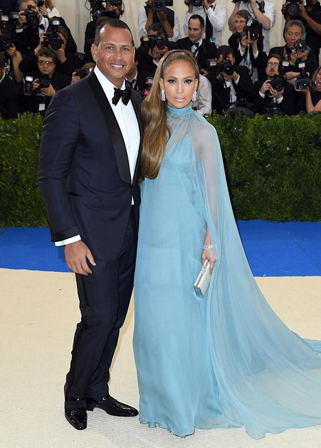 """<p>J-Rod may seem like they've been together forever, but these two aren't even a year strong. The <em>Shades of Blue</em> star and former MLB player have been full steam ahead after a chance meeting over lunch. The pair <a href=""""https://www.yahoo.com/entertainment/jennifer-lopez-alex-rodriguez-celebrate-233514119.html"""" data-ylk=""""slk:have already blended families;outcm:mb_qualified_link;_E:mb_qualified_link"""" class=""""link rapid-noclick-resp"""">have already blended families</a> and are living together. Who knows what next year will bring … a ring, perhaps? (Photo: Karwai Tang/WireImage) </p>"""