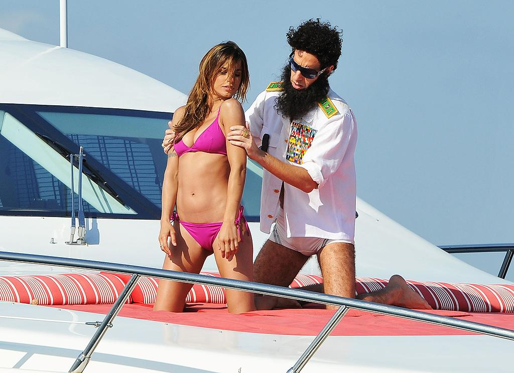 "Yes, we've included a lot of Sacha Baron Cohen as ""The Dictator"" in our Top Shots gallery in recent weeks, but with antics like this, who can resist? In his latest prank, the actor jumped onboard a yacht in Cannes, France, with George Clooney's ex Elisabetta Canalis and after some serious flirting, the two staged a fight and Cohen ended up throwing a body bag overboard. Don't worry, Elisabetta is just fine … and got some coveted publicity out of the deal, too. (5/16/2012)"
