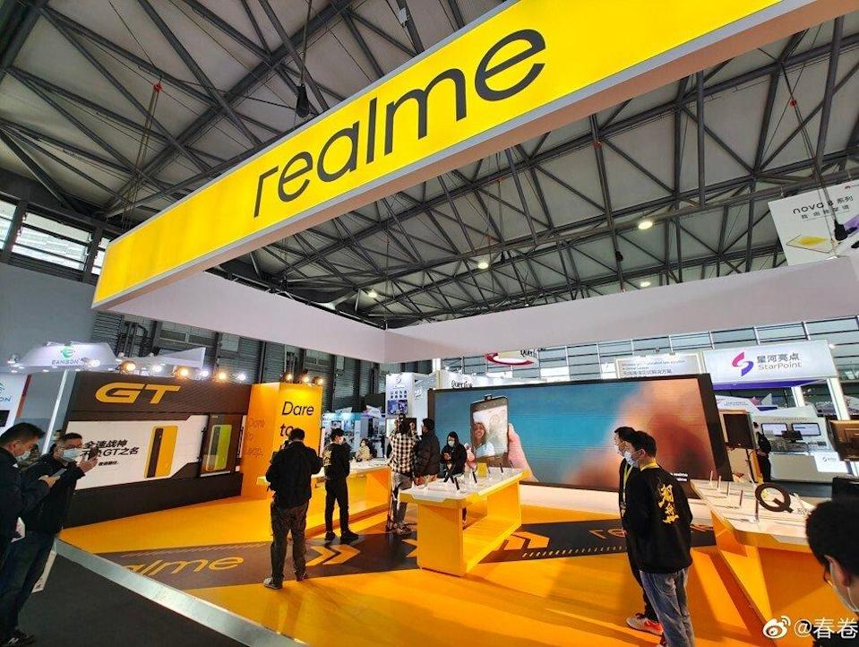Oppo spin-off brand Realme displays its latest smartphone models at MWC Shanghai. Photo: Weibo
