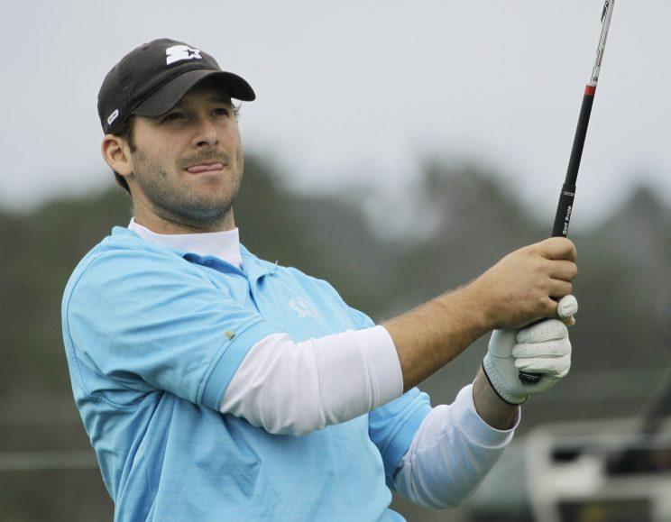 Tony Romo at a pro-am at Pebble Beach in 2012. (AP)