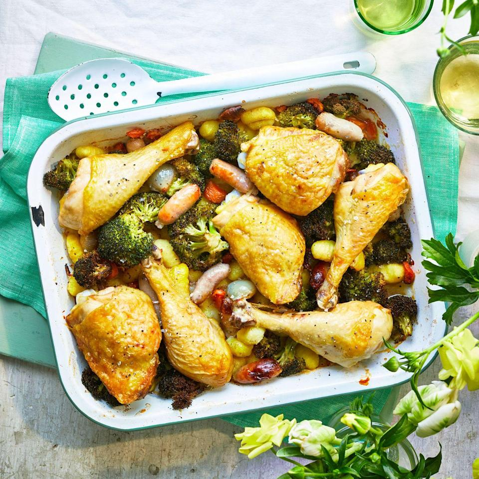 """<p>Let the oven do all the work in this really easy midweek dinner.</p><p><strong>Recipe: <a href=""""https://www.goodhousekeeping.com/uk/food/recipes/a34328574/cheats-traybake-roast/"""" rel=""""nofollow noopener"""" target=""""_blank"""" data-ylk=""""slk:Cheat's Traybake Roast"""" class=""""link rapid-noclick-resp"""">Cheat's Traybake Roast</a></strong></p>"""