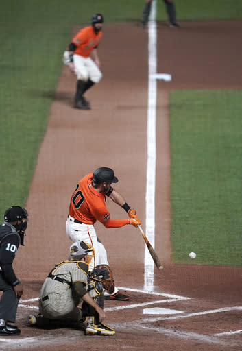 San Francisco Giants' Evan Longoria (10) grounds out, driving in a arun against the San Diego Padres during the second inning of the second game of a baseball doubleheader Friday, Sept. 25, 2020, in San Francisco. Longoria was out at first. (AP Photo/Tony Avelar)
