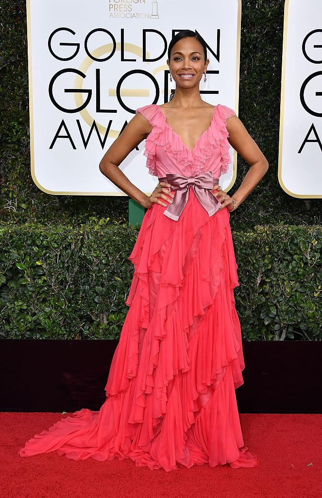 Zoe Saldana in Gucci. (Photo: Getty Images)