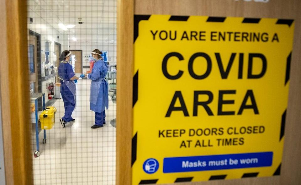 The entrance to a Covid-19 ward (Peter Byrne/PA) (PA Archive)