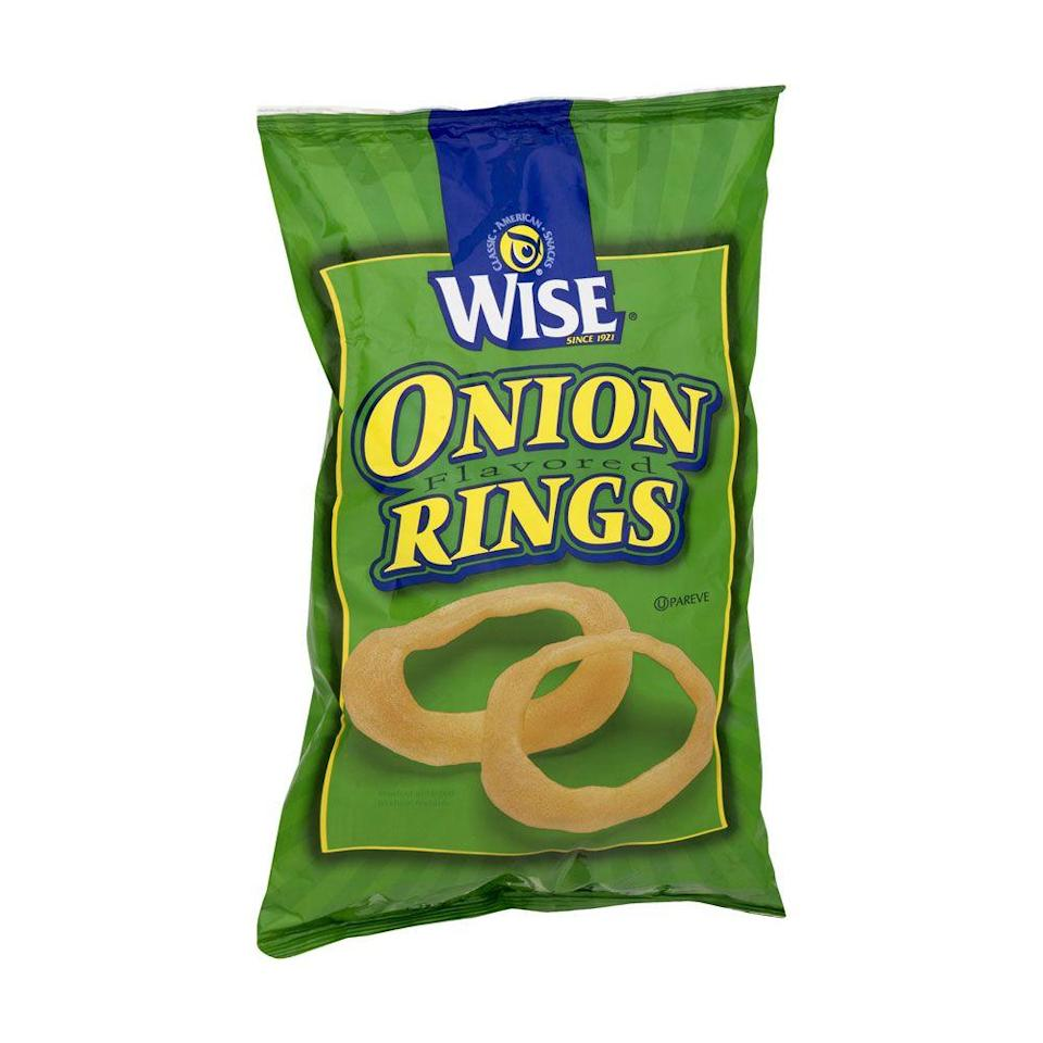 <p>These onion ring crisps aren't everyone's favorite, but there are plenty of die-hard fans out there. The ingredient list is long and includes things like modified corn starch, tapioca starch, potato flour, and hydrolyzed torula yeast proteins—but, no animal products to be found!</p><p><em>Per 29 rings: 140 cals, 6 g fat (1.5 g sat), 360 mg sodium, 2o g carbs, 0 g fiber, 0 g sugar, 0 g protein. </em></p>