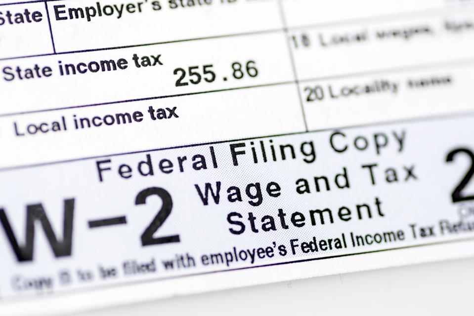 W-2 Form - Federal Filing Wage and Tax Statement close up
