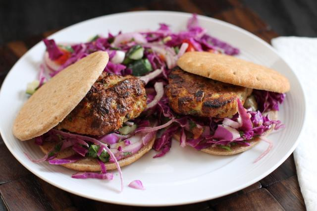 """Photo: Crispy Bits and Burnt Ends<br> Thai Chicken Burgers<br><br> What happens when a very creative blogger takes the fresh and fiery flavors of pad kee mao and turns them into a light and bright chicken burger? This.<br><br> Recipe: <a href=""""http://crispybitsnburntends.com/thai-chicken-burgers-dieting-vs-healthy-life-style/"""" rel=""""nofollow noopener"""" target=""""_blank"""" data-ylk=""""slk:Thai Chicken Burgers"""" class=""""link rapid-noclick-resp"""">Thai Chicken Burgers</a>"""