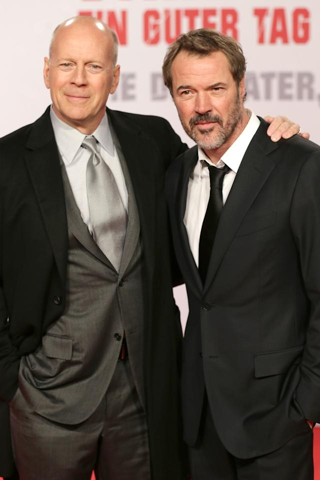 BERLIN, GERMANY - FEBRUARY 04:  (L-R) Bruce Willis and Sebastian Koch attend 'Die Hard - Ein Guter Tag Zum Sterben' Germany Premiere at Cinestar Potsdamer Platz on February 4, 2013 in Berlin, Germany.  (Photo by Andreas Rentz/Getty Images)