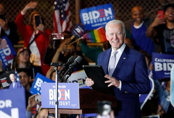 PHOTO: Democratic presidential candidate and former Vice President Joe Biden appears at his Super Tuesday night rally in Los Angeles, March 3, 2020. (Mike Blake/Reuters, FILE)