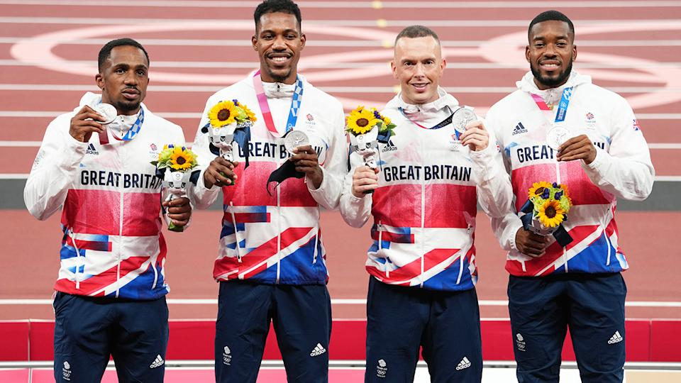 CJ Ujah, pictured here with teammates Zharnel Hughes, Richard Kilty and Nethaneel Mitchell-Blake.