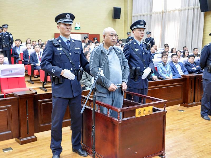 "Gao Chengyong, a serial killer dubbed China's ""Jack the Ripper"" for the way he mutilated several of his 11 female victims, is sentenced in court in Baiyin"