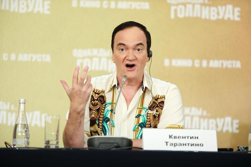 "MOSCOW, RUSSIA - AUGUST 07: Quentin Tarantino attends the press conference of the movie ""Once Upon a time in Hollywood"" at The Ritz-Carlton on August 7, 2019 in Moscow, Russia. (Photo by Gennady Avramenko/Epsilon/Getty Images)"