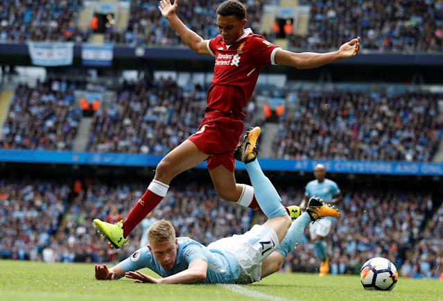 <p>Manchester City's Kevin De Bruyne is fouled by Liverpool's Trent Alexander-Arnold </p>