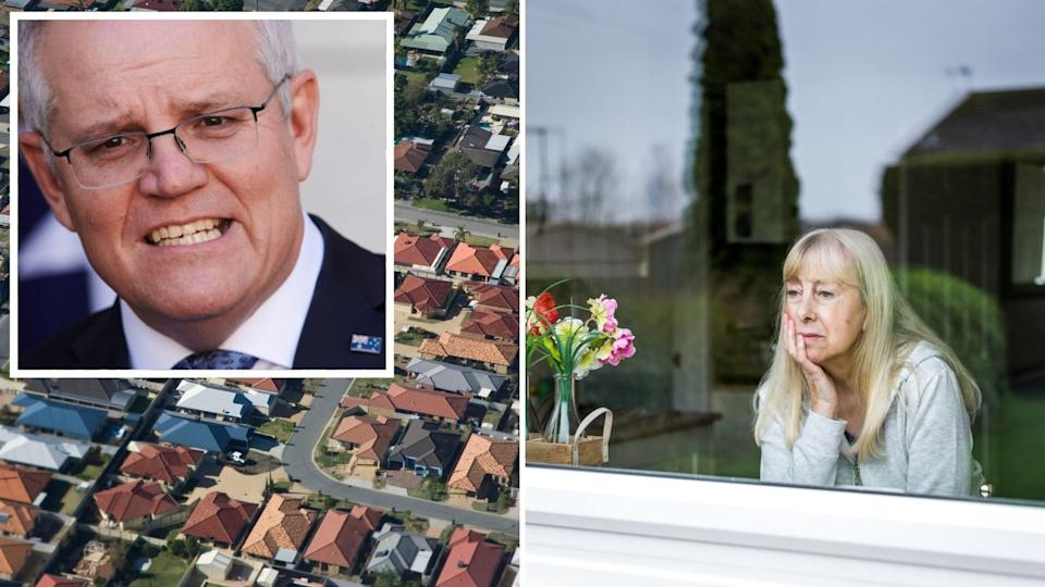 Prime Minister Scott Morrison, aerial view of Australian houses, older woman looks out window sadly.