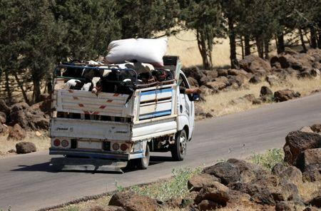 A truck loaded with cattle rides on a street in Deraa countryside, Syria June 22, 2018. REUTERS/Alaa al-Faqir