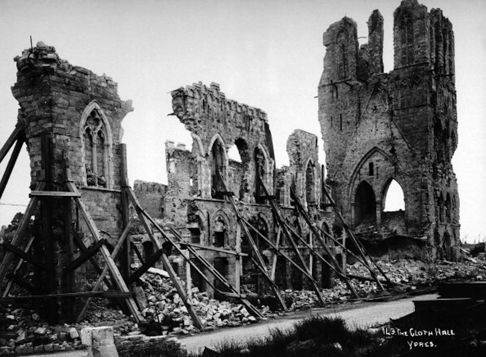 Remains of the Cloth Hall at Ypres in Belgium, photographed soon after the end of World War One, circa March 1919. This image is from a series documenting the damage and devastation that was caused to towns and villages along the Western Front in France and Belgium during the First World War. (Photo by Popperfoto/Getty Images)