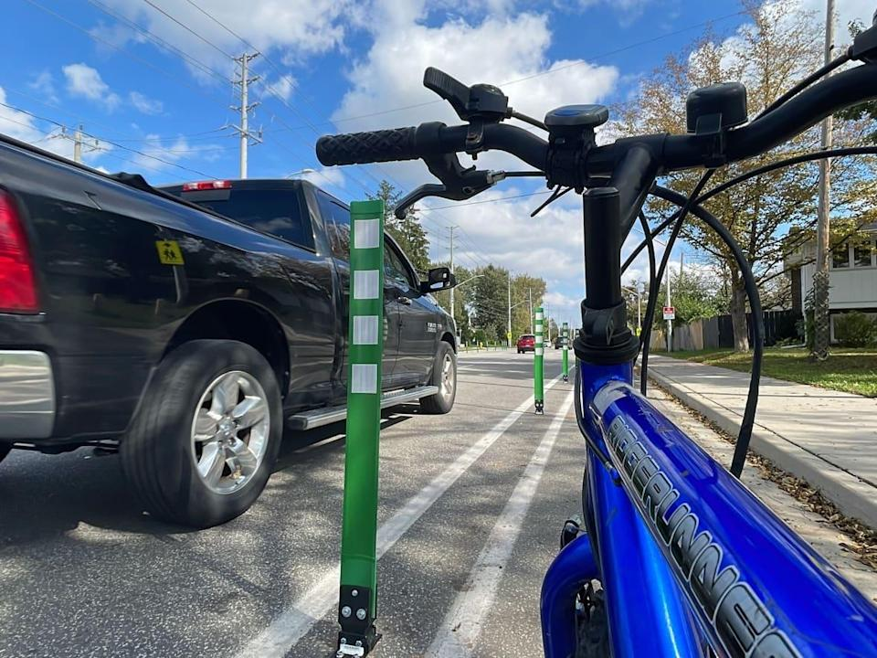 'This is a good first step on Cabana Road. We're delighted to see it. We have to do a lot more,' says Lori Newton, executive director or Bike Windsor-Essex.  (Chris Ensing/CBC - image credit)