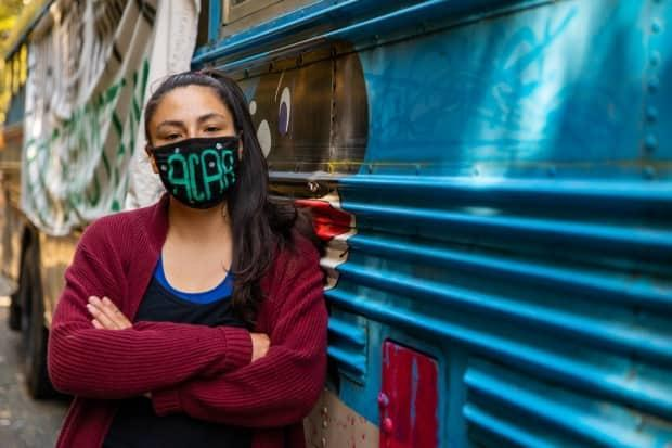 Katie George-Jim, also known as xʷ is xʷ čaa, is part of the blockade against old-growth logging at Fairy Creek on Vancouver Island.  (Dillon Hodgin/CBC - image credit)