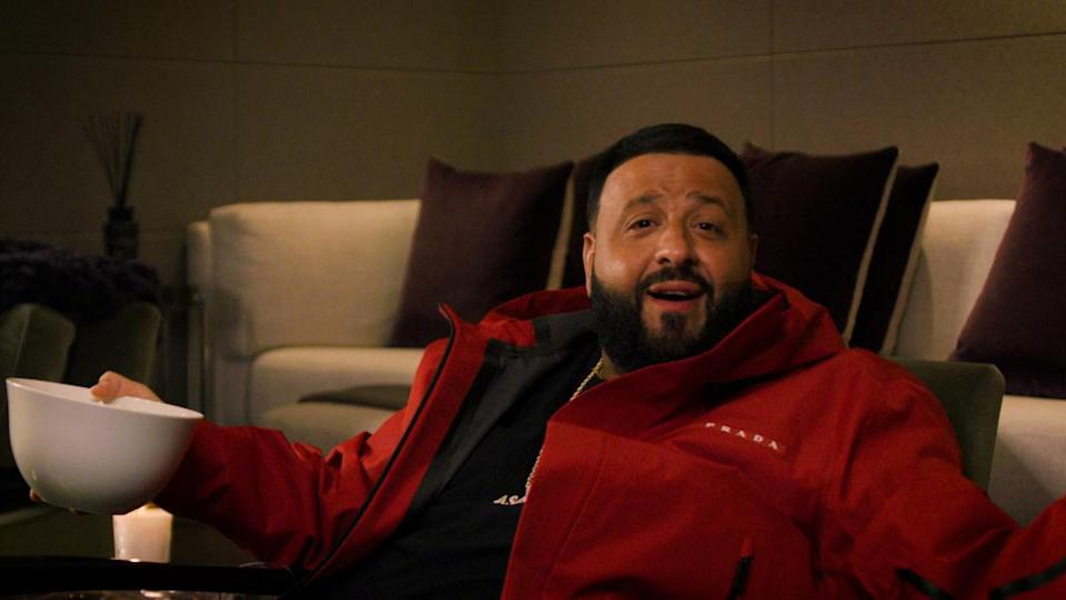 DJ Khaled relaxing on a couch