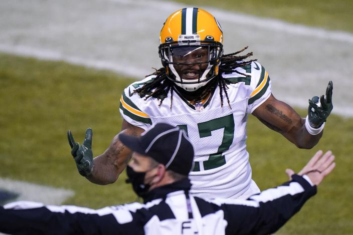 Green Bay Packers' Davante Adams argues a call during the first half of an NFL football game against the Chicago Bears Sunday, Jan. 3, 2021, in Chicago. (AP Photo/Nam Y. Huh)