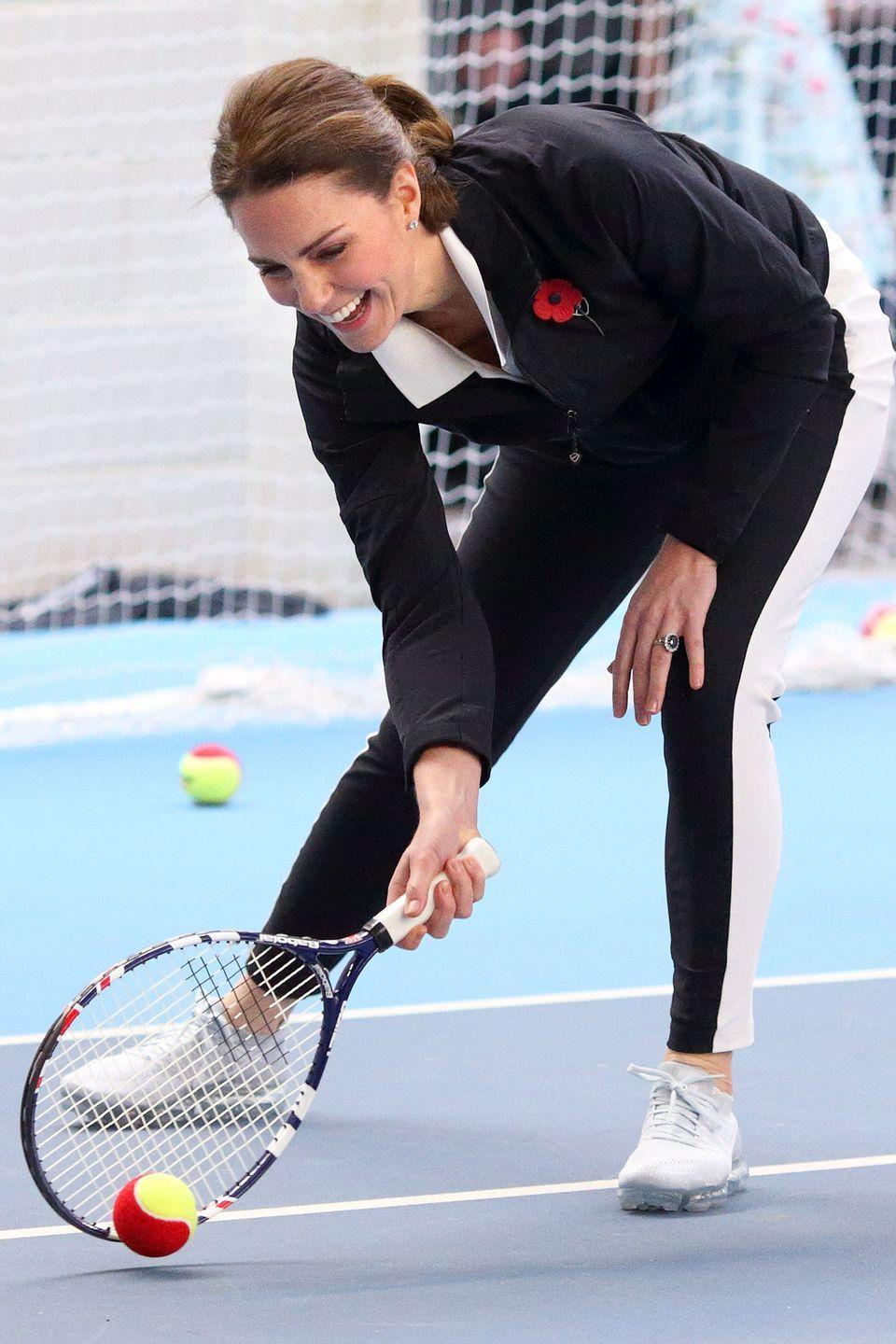 <p>While visiting the Lawn Tennis Association at the National Tennis Centre, Duchess Kate jumps in for a game. </p>