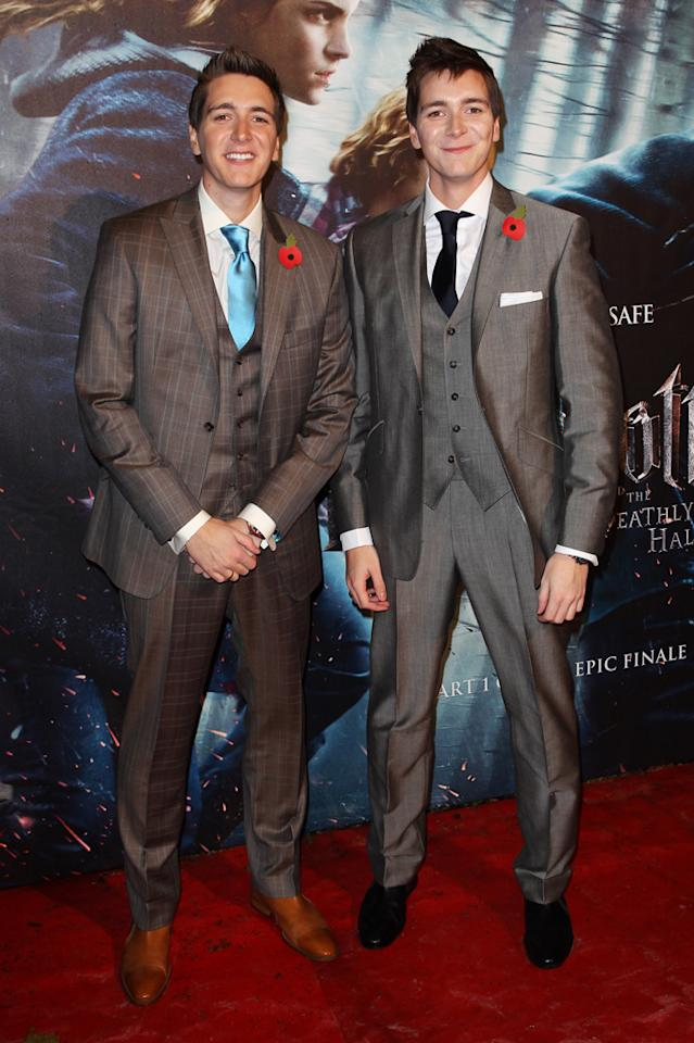"Twins James and Oliver Phelps, who portray pranksters Fred and George Weasley in all the ""Potter"" flicks, stood at attention for the swarming photographers."