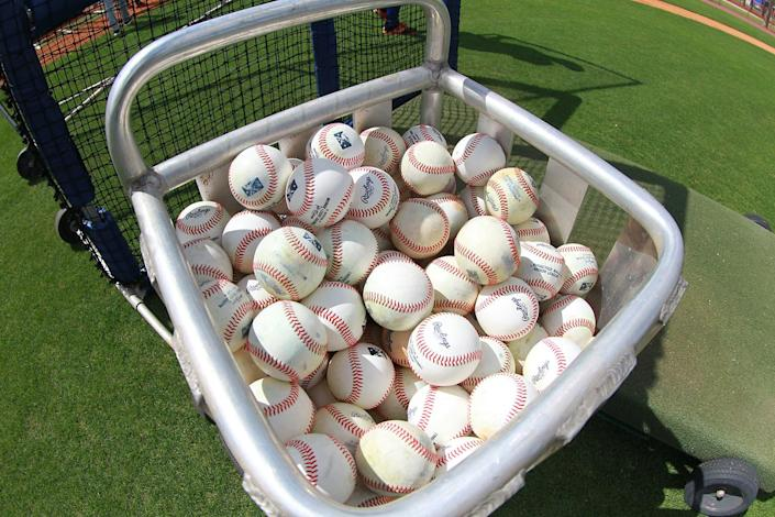 <p>A basket of baseballs ready for the batting practice at the Mets spring training facility in Port St. Lucie, Fla., Friday, Feb 24, 2017. (Gordon Donovan/Yahoo Sports) </p>