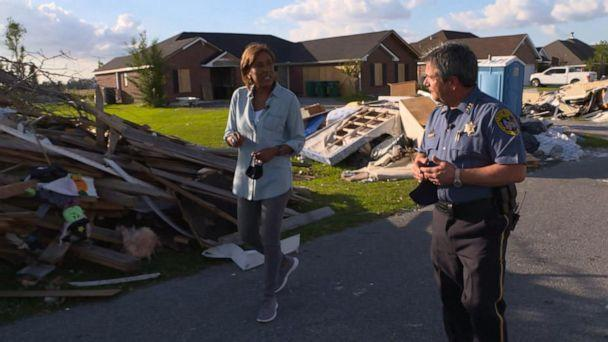 PHOTO: Robin Roberts walks around Lake Charles with Sheriff Tony Mancuso to see the devastation after the hurricanes. (ABC News)