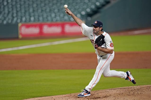 Houston Astros starting pitcher Justin Verlander throws against the Seattle Mariners during the third inning of a baseball game Friday, July 24, 2020, in Houston. (AP Photo/David J. Phillip)