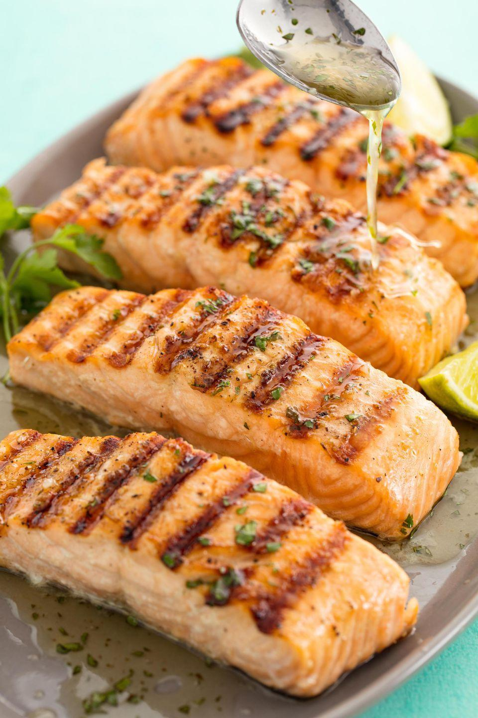 """<p>Dust off the grill.</p><p>Get the recipe from <a rel=""""nofollow noopener"""" href=""""https://www.delish.com/cooking/recipe-ideas/recipes/a58718/best-grilled-salmon-fillets-recipe/"""" target=""""_blank"""" data-ylk=""""slk:Delish"""" class=""""link rapid-noclick-resp"""">Delish</a>.</p><p><a rel=""""nofollow noopener"""" href=""""https://www.amazon.com/Artisanal-Kitchen-Supply-Serving-Platter/dp/B074WKXX2J/"""" target=""""_blank"""" data-ylk=""""slk:BUY NOW"""" class=""""link rapid-noclick-resp"""">BUY NOW</a> <strong><em>Grey Serving Platter, $39; amazon.com.</em></strong></p>"""