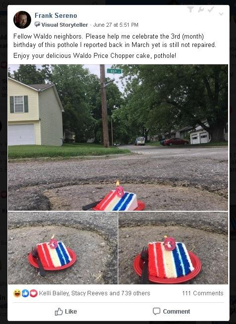 Frank Sereno of Kansas City honored a pothole on his street with a birthday celebration when city officials were slow to fix it. (Screenshot: Courtesy of Frank Sereno)
