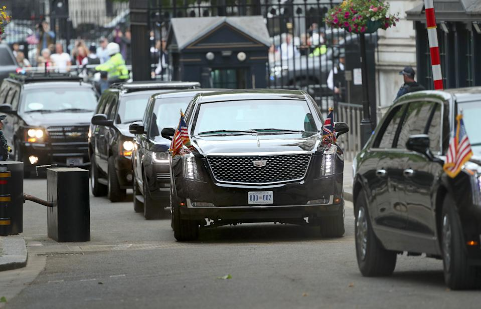 """The motorcade with US President Donald Trump's limousine, nicknamed """"The Beast"""" arrives in Downing Street, London, on the second day of his state visit to the UK."""