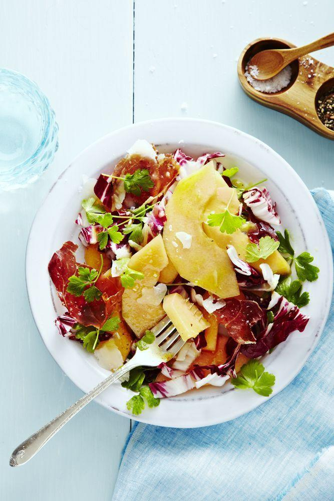 """<p>Bitter radicchio and sweet melon meet salty prosciutto in this colorful salad. It's a triple-threat flavor combo that you can't resist.</p><p><em><a href=""""https://www.goodhousekeeping.com/food-recipes/a33640/radicchio-melon-salad/"""" rel=""""nofollow noopener"""" target=""""_blank"""" data-ylk=""""slk:Get the recipe for Radicchio Melon Salad »"""" class=""""link rapid-noclick-resp""""><em>Get the recipe for </em>Radicchio Melon Salad »</a></em></p>"""