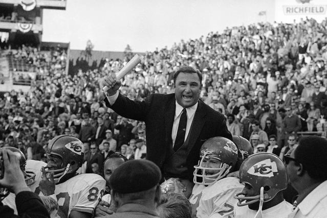 FILE - In this Jan. 4, 1970, file photo, Kansas City Chiefs coach Hank Stram is carried on the shoulders of his team after the Chiefs defeated Oakland Raiders 17-7 to win the American Football League title in Oakland, Calif. The best AFL team might have been might have been the Kansas City Chiefs in 1969. (AP Photo/File)