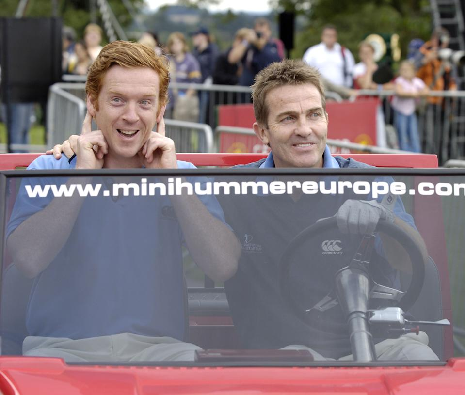 Damien Lewis and Bradley Walsh during The Northern Rock All Star Cup - Press Conference at Celtic Manor Resort in Newport, Great Britain. (Photo by Sandy Young/Getty Images)