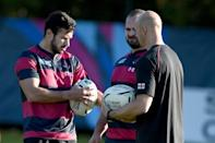Georgia's fly-half Lasha Malaguradze (L) attends a training session with teammates, at Newport High School in south Wales, on September 28, 2015, during the Rugby World Cup (AFP Photo/Damien Meyer)