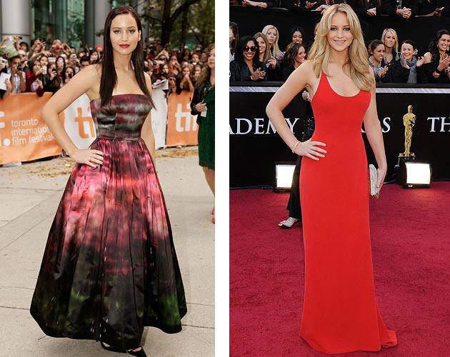 Left: Jennifer Lawrence at 2012 Toronto Film Fest. Right: Lawrence at 2011 Oscars.