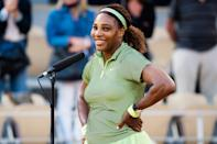 <p>Serena Williams is all smiles after winning her second round match at the 2021 French Open in Paris on June 2.</p>