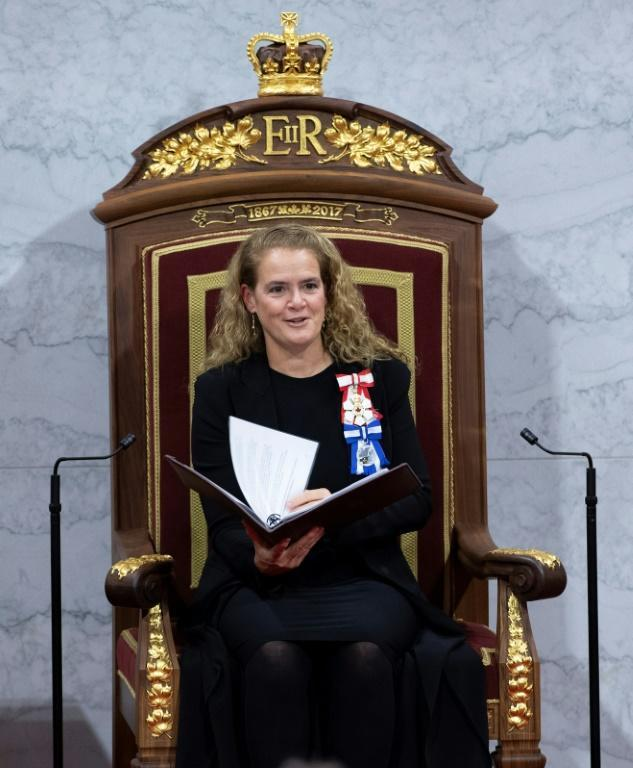 Governor General Julie Payette delivers the Speech from the Throne at the Senate in Ottawa on December 5, 2019 (AFP Photo/Sean Kilpatrick)