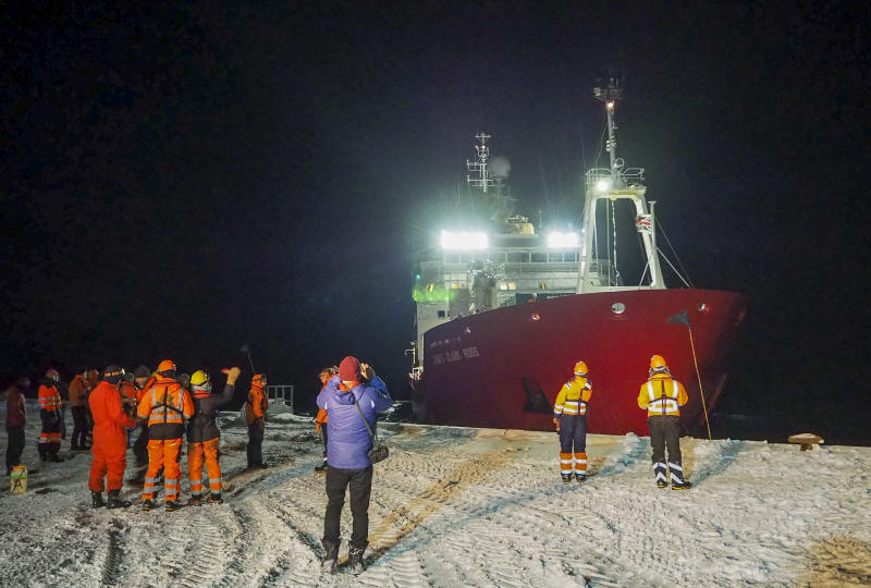 Picture shows the James Clark Ross research vessel departs at the start of the winter season in Antarctica in May 2020.