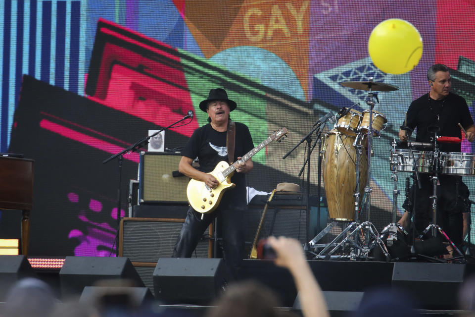 Carlos Santana performs at We Love NYC: The Homecoming Concert at The Great Lawn in Central Park on Saturday, Aug. 21, 2021, in New York. (Photo by Andy Kropa/Invision/AP)