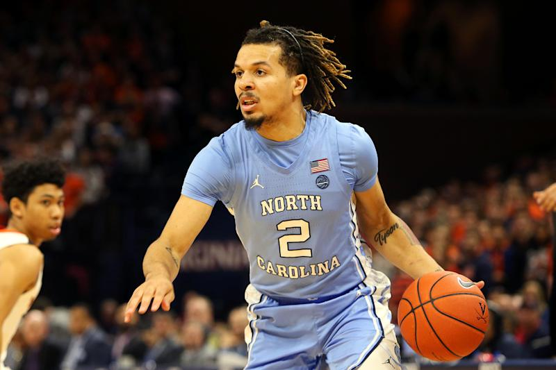 CHARLOTTESVILLE, VA - DECEMBER 07: Cole Anthony #2 of the North Carolina Tar Heels dribbles in the first half during a game against the Virginia Cavaliers at John Paul Jones Arena on December 7, 2019 in Charlottesville, Virginia. (Photo by Ryan M. Kelly/Getty Images)