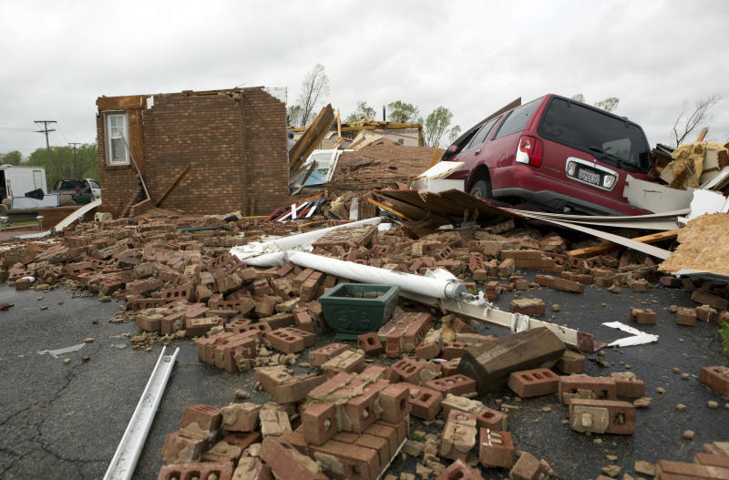 The leveled house of Delores Anderson is viewed Friday, April 19, 2019, after a tornado touched down in Franklin County, Va. (Heather Rousseau/The Roanoke Times via AP)